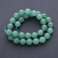 Бусины натуральный камень Нефрит на нитке шарик  d-12мм, L-39 см