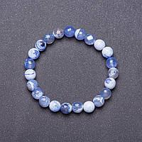 Браслет натуральный камень на резинке Голубой Агат граненный шарик d-8мм обхват 18см