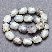 Бусины из натурального камня Лабрадор на нитке галтовка брусок d-12х20мм (+-) L- 37см
