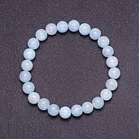 Браслет из натурального камня Аквамарин светло голубой гладкий шарик d-8 мм (+-) на резинке обхват 18см