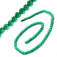 """Бусины """"рондель"""" хрустальные (стекло) на нитке 6мм, цвет матовый зелёный светлый изумруд , L- 45см"""