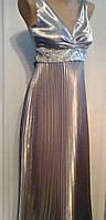 Вечернее платье гофре в греческом стиле стальной серый атлас