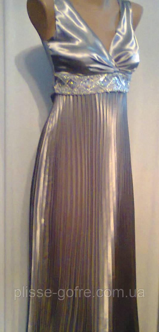 c43038b38968 Вечернее платье гофре в греческом стиле стальной серый атлас -  Мастерская-ателье плиссе-гофре