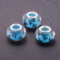 Бусина пандора голубая Бабочки пластик d-13мм d-5мм