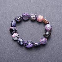 Браслет из натурального камня Чароит крупная галтовка d-12мм(+-) обхват 18 см на резинке