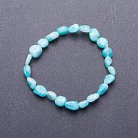 Браслет из натурального камня галтовка Амазонит d-7мм(+-) обхват 18 см на резинке