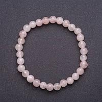 Браслет из натурального камня Розовый кварц на резинке гладкий шарик d-6-7мм обхват 18см