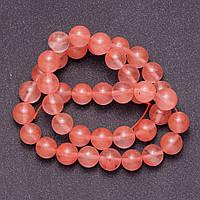 Бусины из натурального камня Халцедон розовый на леске  гладкий шарик d-10мм L-38см