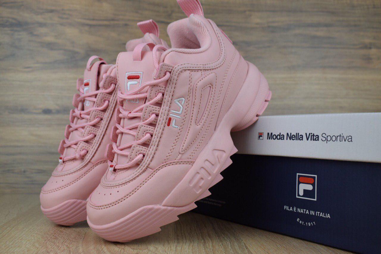 Женские кроссовки в стиле Fila Disruptor 2 розовые  продажа 20ebd8da5f104