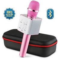 Беспроводной микрофон bluetooth Q7 MS (розовый, золото, черный) с чехлом