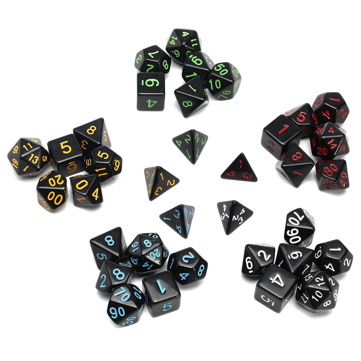 35 Piece Polyhedral Кости Set Multisided Кости С Кости Сумка RPG Ролевые игры Гаджет -1TopShop
