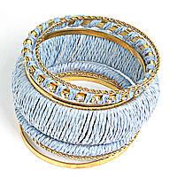 [6см] Браслет женский из шести тонких колец и обруча небесно- голубого цвета