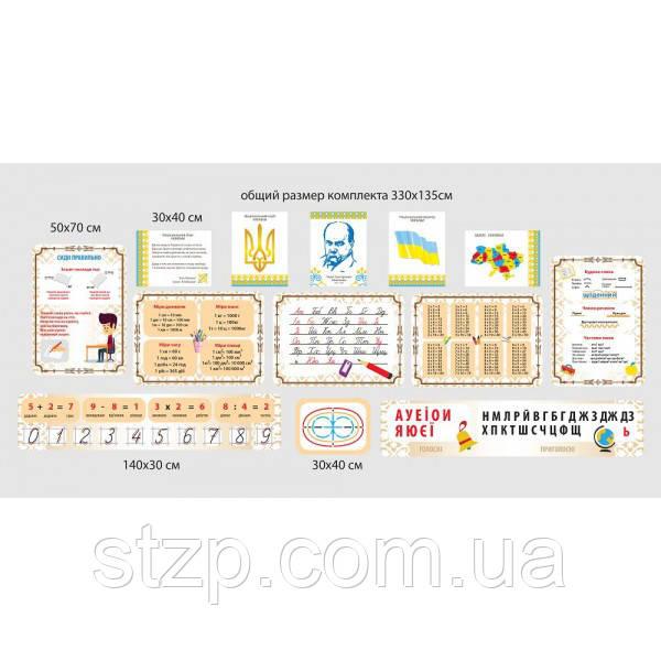 Комплект інформаційних стендів для початкової школи (білий і коричневий)