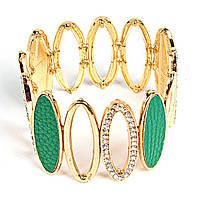 [5-6см] Браслет женский, широкий, цвет- золото, украшен крупными, овальными камнями и мелкими фианитами