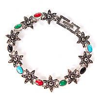 [20 см] Браслет женский Цветок со стразами и разноцветные камни круглые в виде вставок,  темный металл тонкий  замок-пряжка