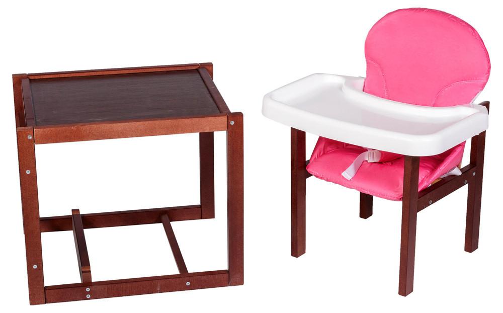 Стульчик- трансформер Наталка темный пластиковая столешница розовый