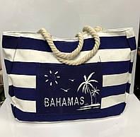 d153a2884abd Пляжная сумка Bahamas 115530 женская текстильная синяя с белым ручки канаты  на молнии