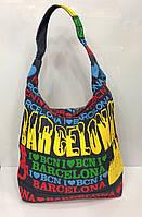 Пляжная сумка Barcelona 115531 джинсовый мешочек на одну ручку женская цветной принт
