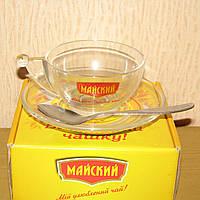 Новая чашка 250мл с блюдцем и ложкой в коробке