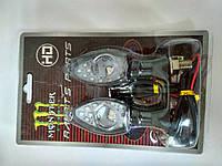 Повороты светодиодные (пара) стреловидные, черные, прозрачное стекло,  №234079 Monster Energy