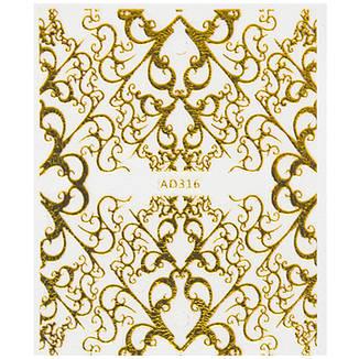 KATTi Наклейки водные AD 316 золото узоры 3D, фото 2
