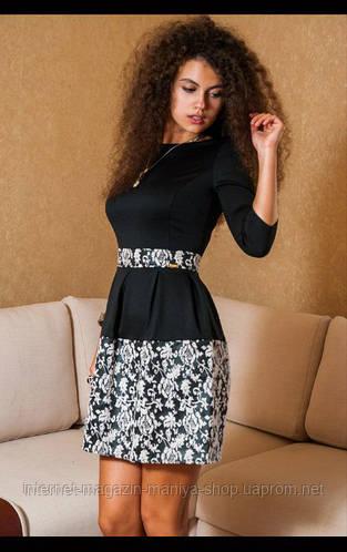 Платье с жаккардовой юбкой