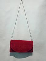 """Клатч женский  красный из замши (24х12 см) """"David Polo"""" LG-1605"""