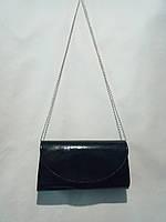 """Клатч женский черный  лакированный(24х12 см) """"David Polo"""" LG-1605"""