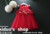 Распродажа Красное с белым нарядное платье девочки на 2-3 года