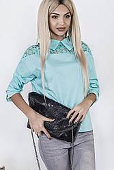 Блуза женская из поплина, прямая, мята, размер 46-48