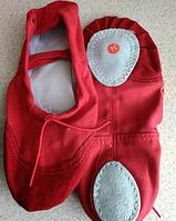 Балетки красные для танцев из текстиля детские, подростковые, взрослые с кожаными вставками