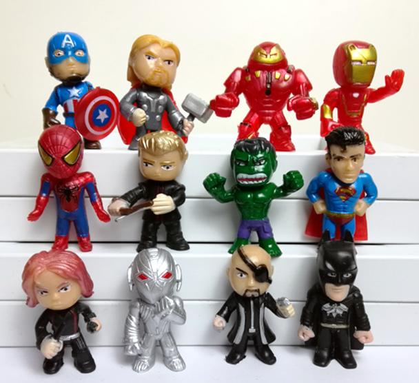 Набор Марвел Супергерои 12 шт. Мстители Бетмен Халк Супермен Тор Капитан Америка Железный человек Тор