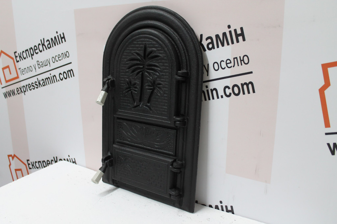 Дверцы печные «Пальма» без стекла 340х540. Чугунная дверка для печи барбекю