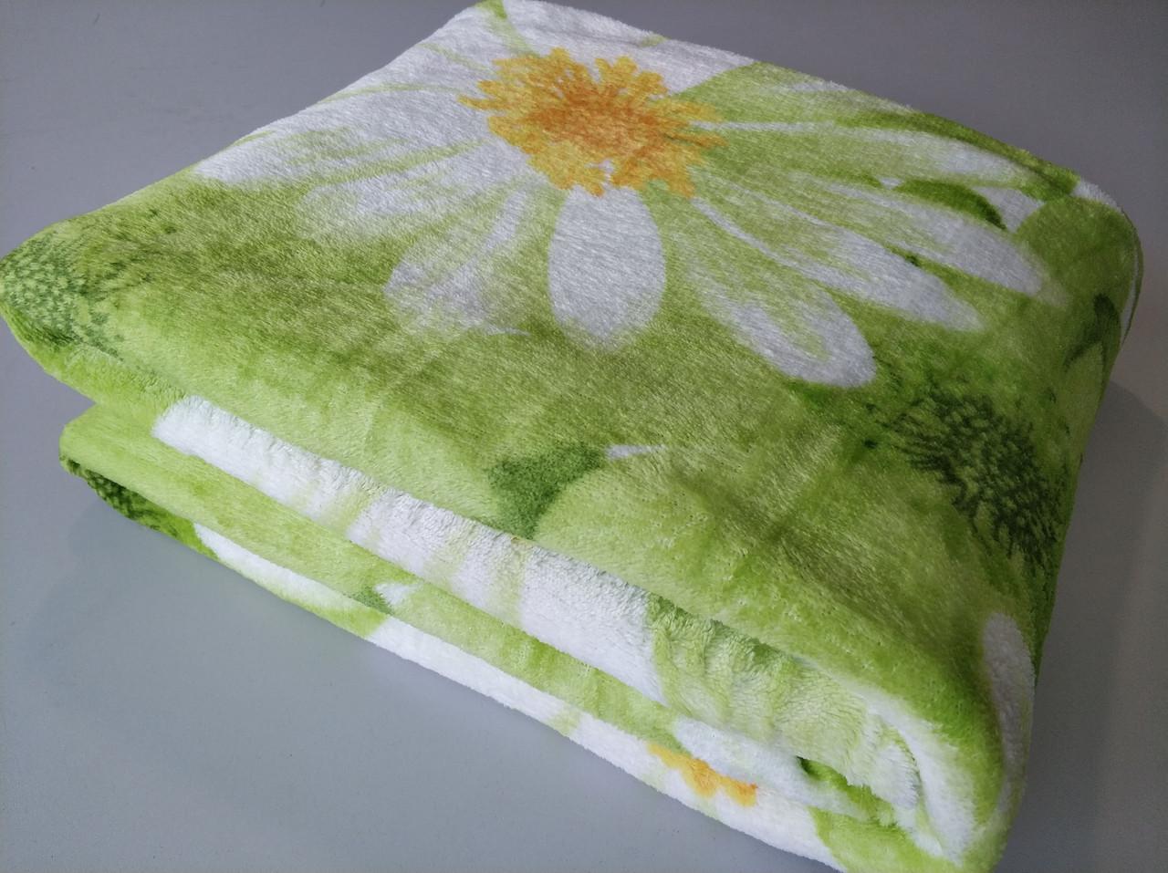 Микрофибровая простынь, покрывало TRUE LOVE полуторное Ромашка зеленая