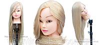 Учебная голова 30% натуральных волос,длина 65-70см, блондинка , фото 1