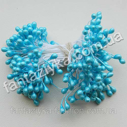 Тычинки для цветов лаковые ярко-голубые, 50 штук
