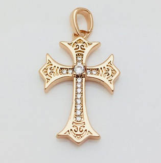 Крест в камнях, позолота 18К Fallon