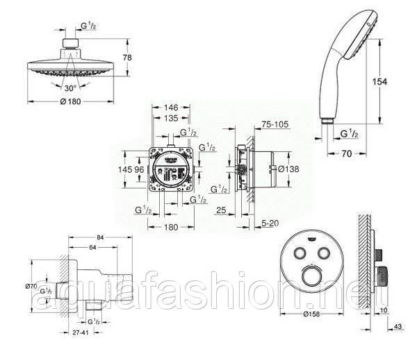 Душевая система скрытого монтажа Grohe Grohtherm SmartControl 34614SC0
