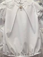 Блуза с летняя белая с украшением и кружевом для девочки опт