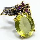 Серебряное кольцо ручной работы 925 пробы с натуральным лимонным кварцем и аметистом Размер 18