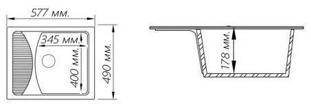 Кухонная гранитная мойка FOSTO 58x50 SGA-806, фото 3