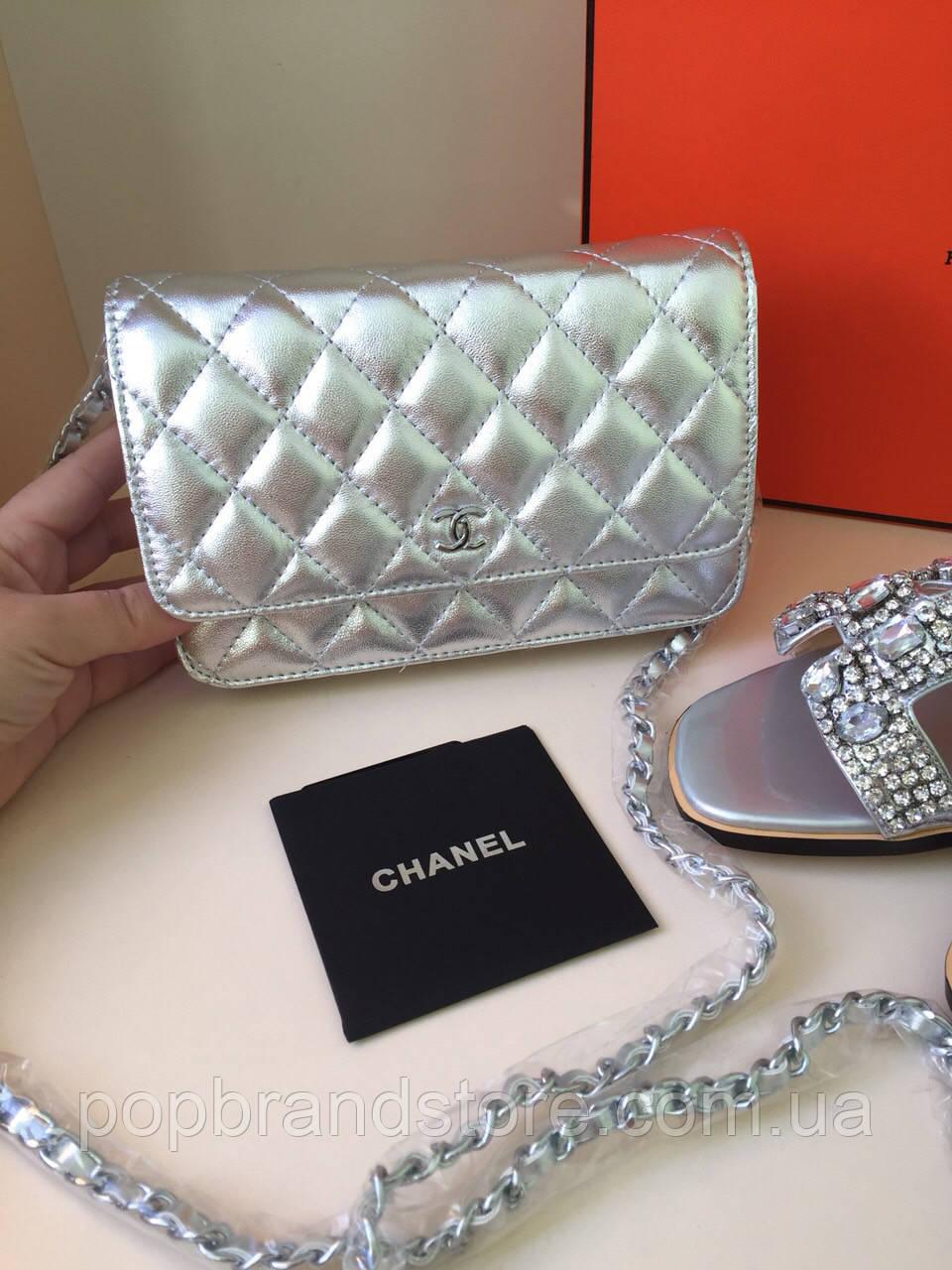 2dc56dee0dda Мини-сумочка Chanel WOC серебро (реплика) - Pop Brand Store | брендовые  сумки