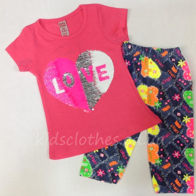 Костюм-двойка летний для девочек   Love    розовый с пайетками 2-5 ... 57e7e923f8f3b