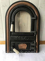 Дверцы печные со стеклом Овал. Дверца для печи и барбекю