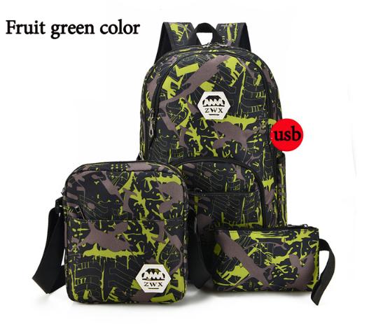 Набор Рюкзак+сумка+пенал+USB-шнур Зелёный Школьный городской Синий