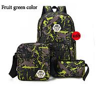 Набор Рюкзак+сумка+пенал+USB-шнур Зелёный Школьный городской Синий, фото 1