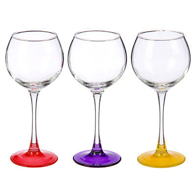 """Набор бокалов цветных для вина """"Лак Микс"""" 280мл. 3шт"""