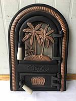 Дверцы печные со стеклом Пальма. Дверцы для печи и барбекю