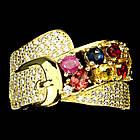 Серебряное позолоченное кольцо 925 пробы с натуральным сапфиром и рубином Размер 18