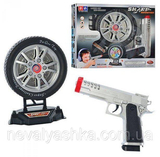Пистолет и мишень в виде колеса музыкальный светится с мишенью, 2148, 003038